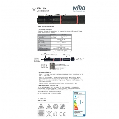 Daugiafunkcinis žibintuvėlis WIHA, LED, UV ir Lazerio šviesa, su magnetu 6