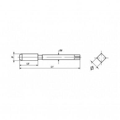 IŠPARDAVIMAS! Rankinių sriegiklių rinkinys Volkel DIN 2181 HSS-G – M 20 x 1.0 (2 vnt.) 2