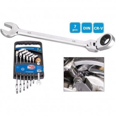 Kombinuotų lanksčių terkšlinių raktų rinkinys Super Ego 8-19 mm (9 vnt.) 2