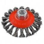Kūgio formos OSBORN šepetys (Ø 115x15 mm) supinta plieninė viela 0.50 mm, SB