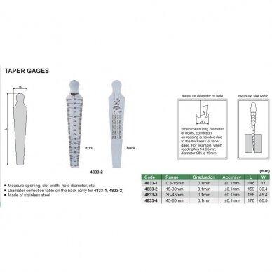 "Kūginis matuoklis Insize 0.8-15mm (1/32""~5/8"") 0.1mm 2"