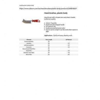 Nerūdijančio plieno vielos rankinis šepetys su plastmasine rankena OSBORN 3