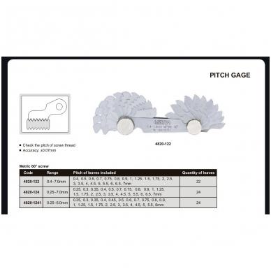 Radiuso matuoklis Insize METRIC 60° 0.25-7.0mm 2