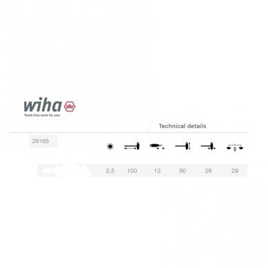 T-formos raktas WIHA ComfortGrip (2,5x100) 2