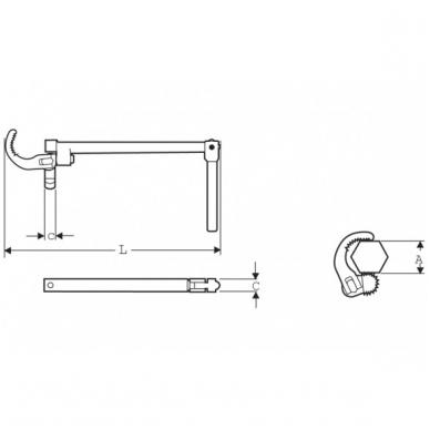 Vamzdinis raktas sifonams Super Ego (265mm; 10-32 mm) 2